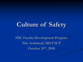 Culture of Safety
