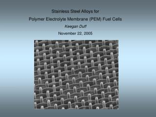 Stainless Steel Alloys for  Polymer Electrolyte Membrane (PEM) Fuel Cells Keegan Duff November 22, 2005