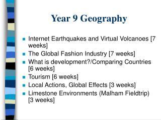 Year 9 Geography
