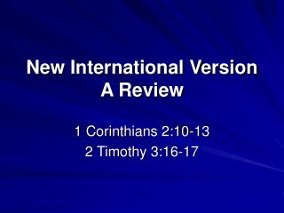 New International Version  A Review