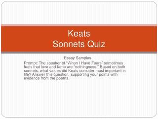 Keats Sonnets Quiz