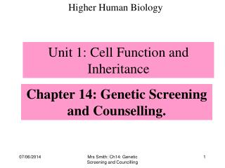 Chapter 14: Genetic Screening and Counselling.