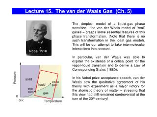 Lecture 15. The van der Waals Gas (Ch. 5)