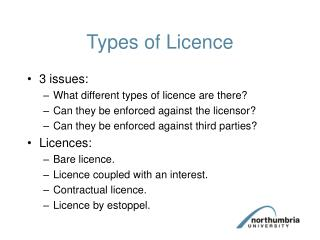 Types of Licence