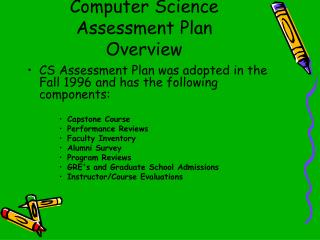 Computer Science Assessment Plan Overview