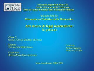 Relazione Finale in Matematica e Didattica della Matematica