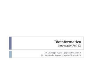 Bioinformatica Linguaggio Perl (2)