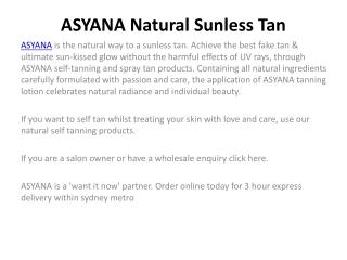 ASYANA Natural Sunless Tan