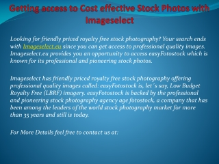 Getting access to Cost effective Stock Photos with Imagesele