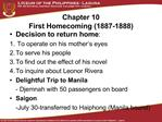 Chapter 10 First Homecoming 1887-1888