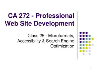 CA 272 - Professional Web Site Development