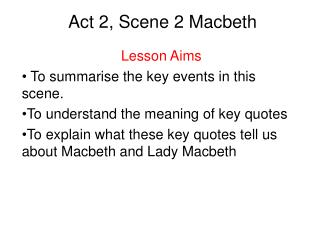 Act 2, Scene 2 Macbeth