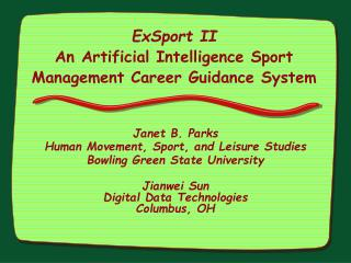 ExSport II An Artificial Intelligence Sport Management Career Guidance System