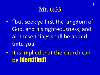 Mt. 6:33