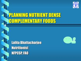 PLANNING NUTRIENT DENSE COMPLEMENTARY FOODS