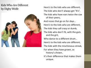 Kids Who Are Different by Digby Wolfe