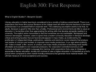 English 300: First Response