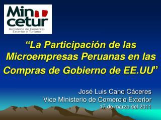"""""""La Participación de las Microempresas Peruanas en las Compras de Gobierno de EE.UU """""""