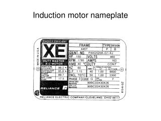 Induction motor nameplate