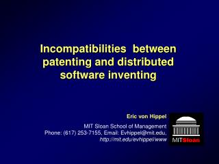 Incompatibilities  between patenting and distributed software inventing