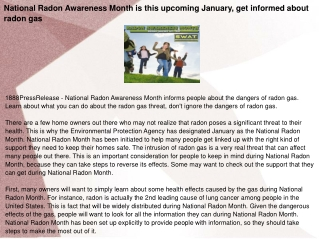 National Radon Awareness Month is this upcoming January