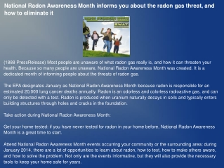 National Radon Awareness Month informs you about the radon