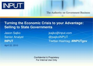 Turning the Economic Crisis to your Advantage: Selling to State Governments