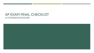 AP Exam Final Checklist (a confidence booster)