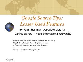 Google Search Tips: Lesser Used Features