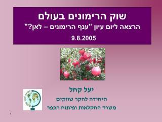 """שוק הרימונים בעולם הרצאה ליום עיון """"ענף הרימונים – לאן?"""" 9.8.2005"""