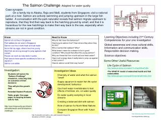 The Salmon Challenge : Adapted for water quality