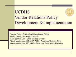 UCDHS  Vendor Relations Policy Development & Implementation