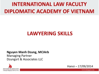 INTERNATIONAL LAW FACULTY DIPLOMATIC ACADEMY OF VIETNAM