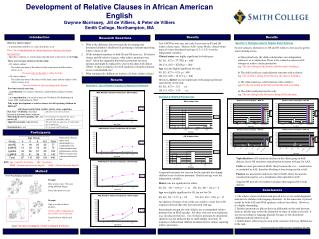 Development of Relative Clauses in African American English Gwynne Morrissey, Jill de Villiers, & Peter de Villie