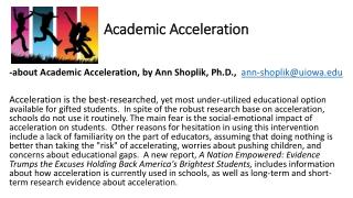 Academic Acceleration