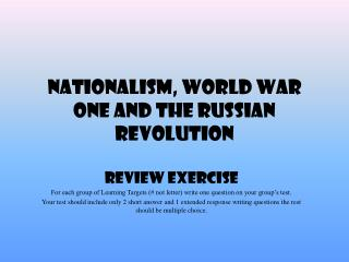 Nationalism, World War One and the Russian Revolution