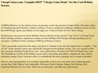 CheapCruises.com- Compiles HOT Cheap Cruise Deals for the