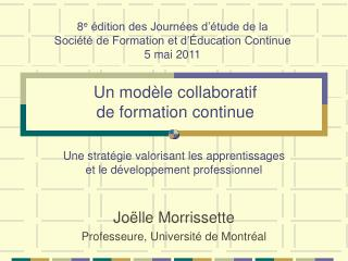 Un modèle collaboratif de formation continue