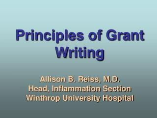 Principles of Grant Writing