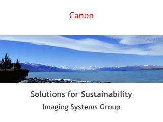 Solutions for Sustainability Imaging Systems Group