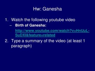 Hw: Ganesha