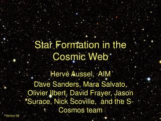 Star Formation in the  Cosmic Web