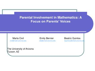 Parental Involvement in Mathematics: A Focus on Parents  Voices