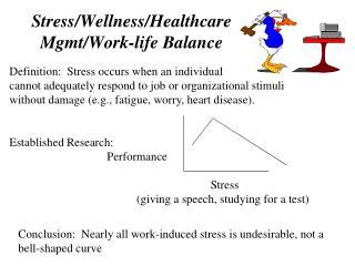 Stress/Wellness/Healthcare Mgmt/Work-life Balance