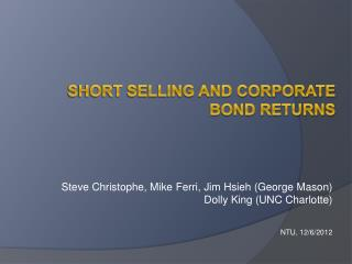 S hort selling and corporate Bond returns