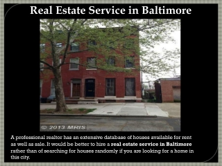 Real estate services in Baltimore