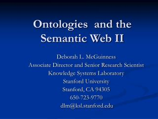 Ontologies  and the Semantic Web II