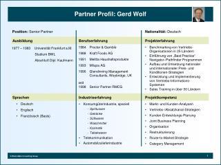 Partner Profil: Gerd Wolf