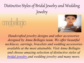 Distinctive Styles of Bridal Jewelry and Wedding Jewelry