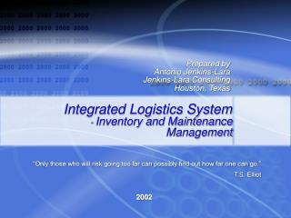 Integrated Logistics System - Inventory and Maintenance Management